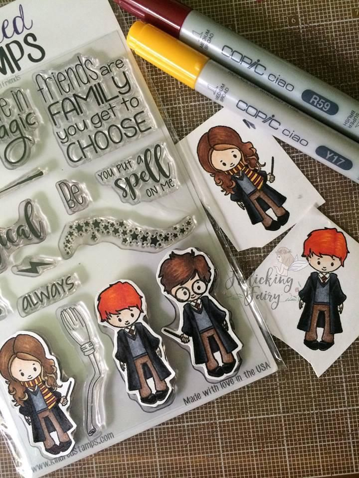 Backorder 4x6 Wizard Friends Clear Stamp Set Harry Potter Cards Harry Potter Gift Box Stamped Cards