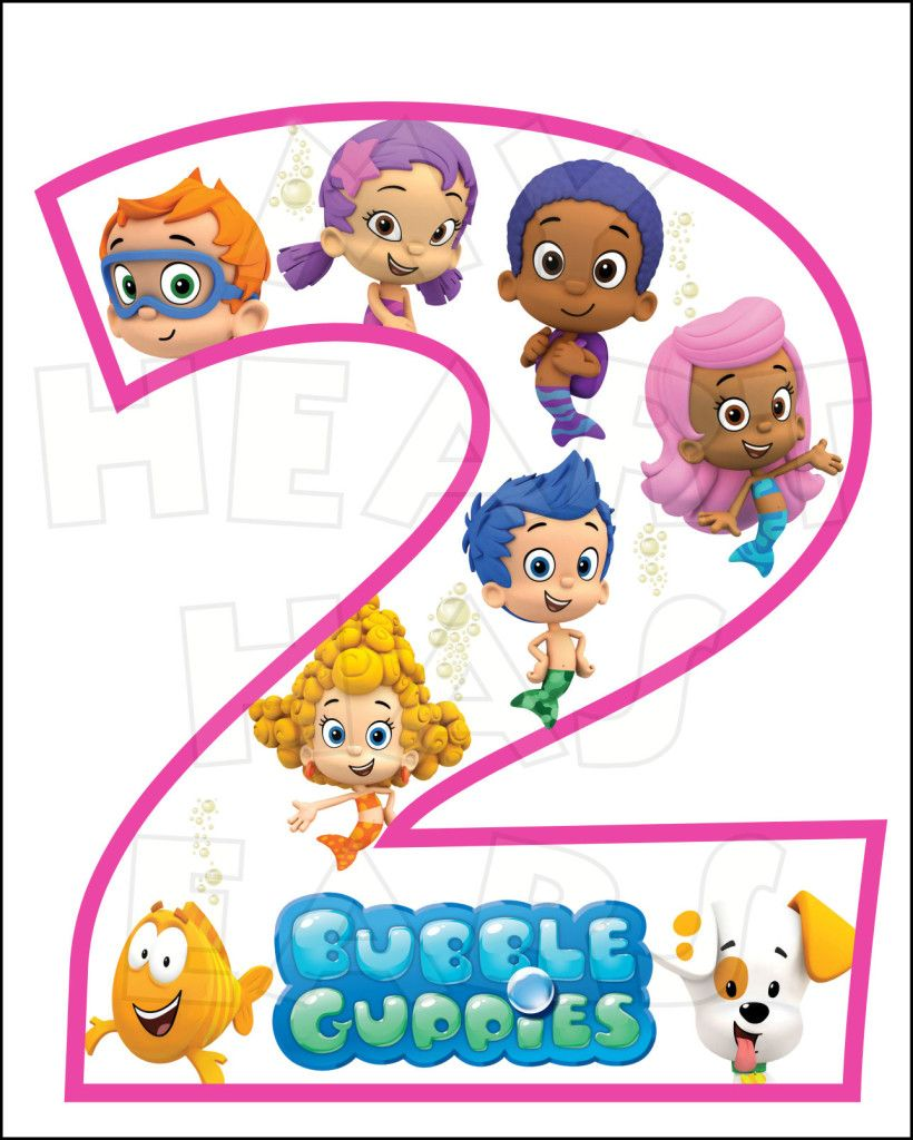 Bubble guppies 2nd birthday instant download digital clip art my heart has ears make an iron - Bubble guppies birthday banner template ...