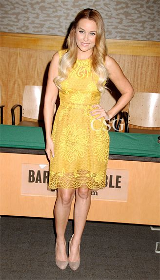 3283d308bc01 Lauren Conrad wore the the yellow crocheted Yoana Baraschi Honeycomb Lace  Dress as she signs her book 'Starstruck' at Barnes & Noble, 86th &  Lexington in ...