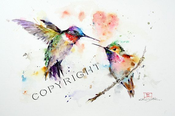 Hummingbirds Lovebirds Canvas Print Wall Art by Dean Crouser Watercolor