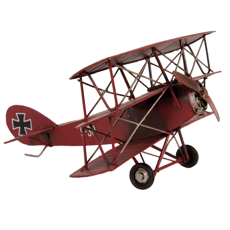 Flugzeug Doppeldecker Roter Baron Blechflugzeug rot groß Blechmodell ...
