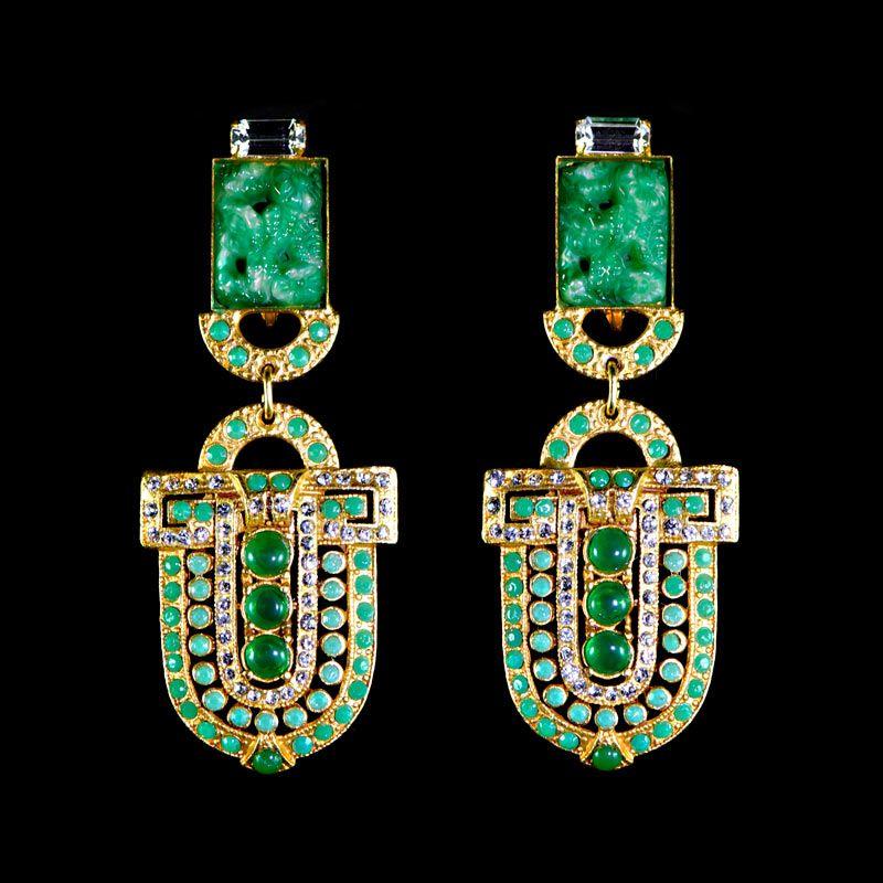 Askew London Art Deco Paddle Clip-on Earrings (Green)