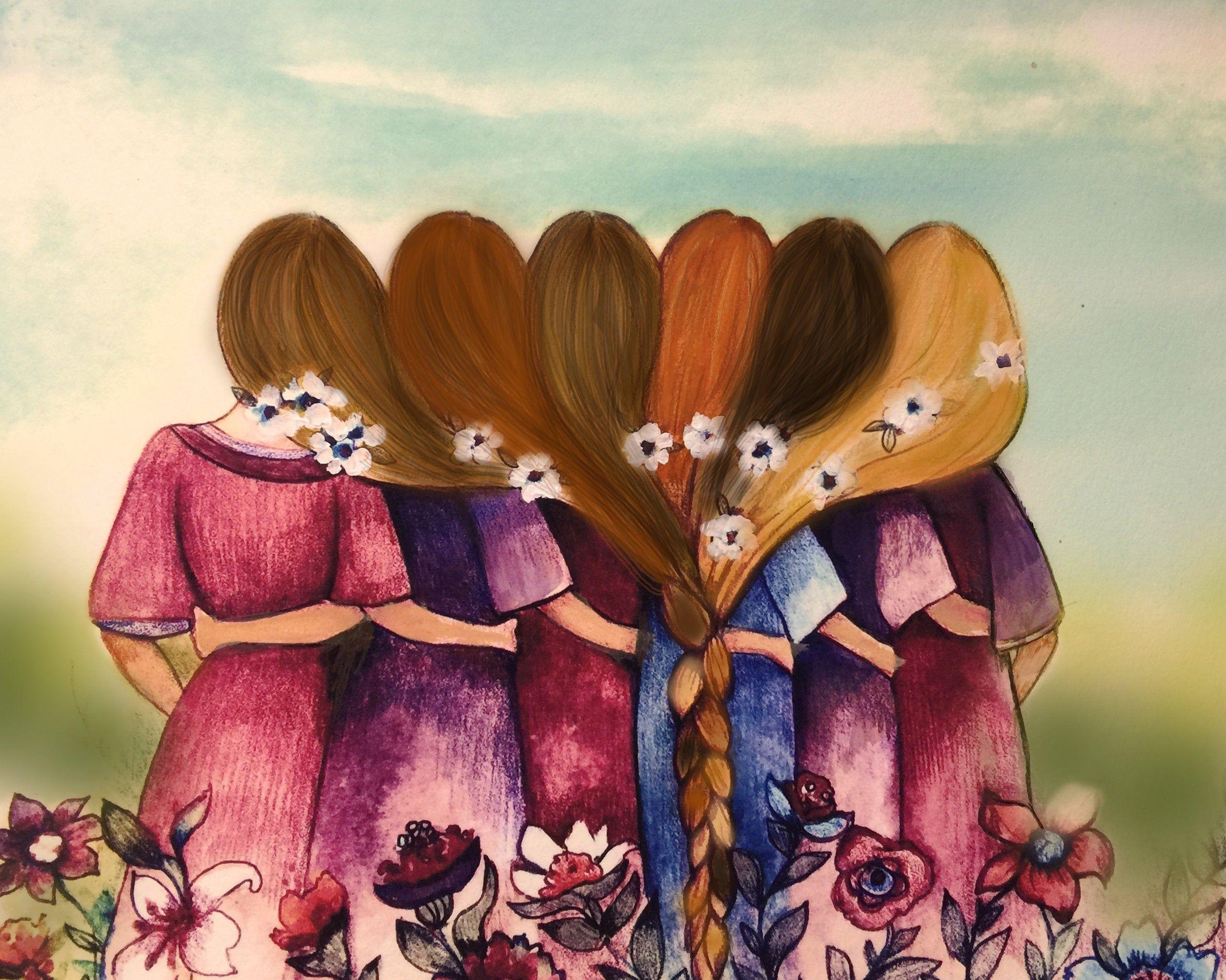 Seis Hermanas Mejores Amigas Con Cabello Rubio Y Oscuro Arte