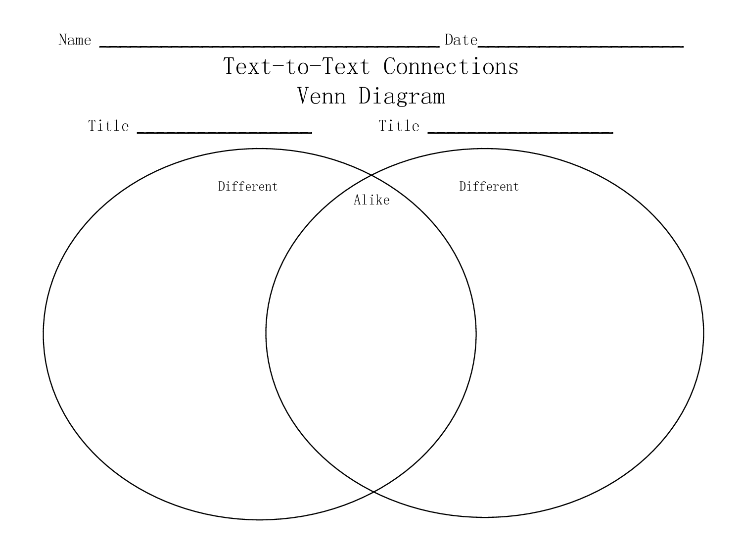 Text to text connections worksheets name date text to text teaching ideas text to text connections worksheets name date text to text connections venn diagram ccuart Image collections
