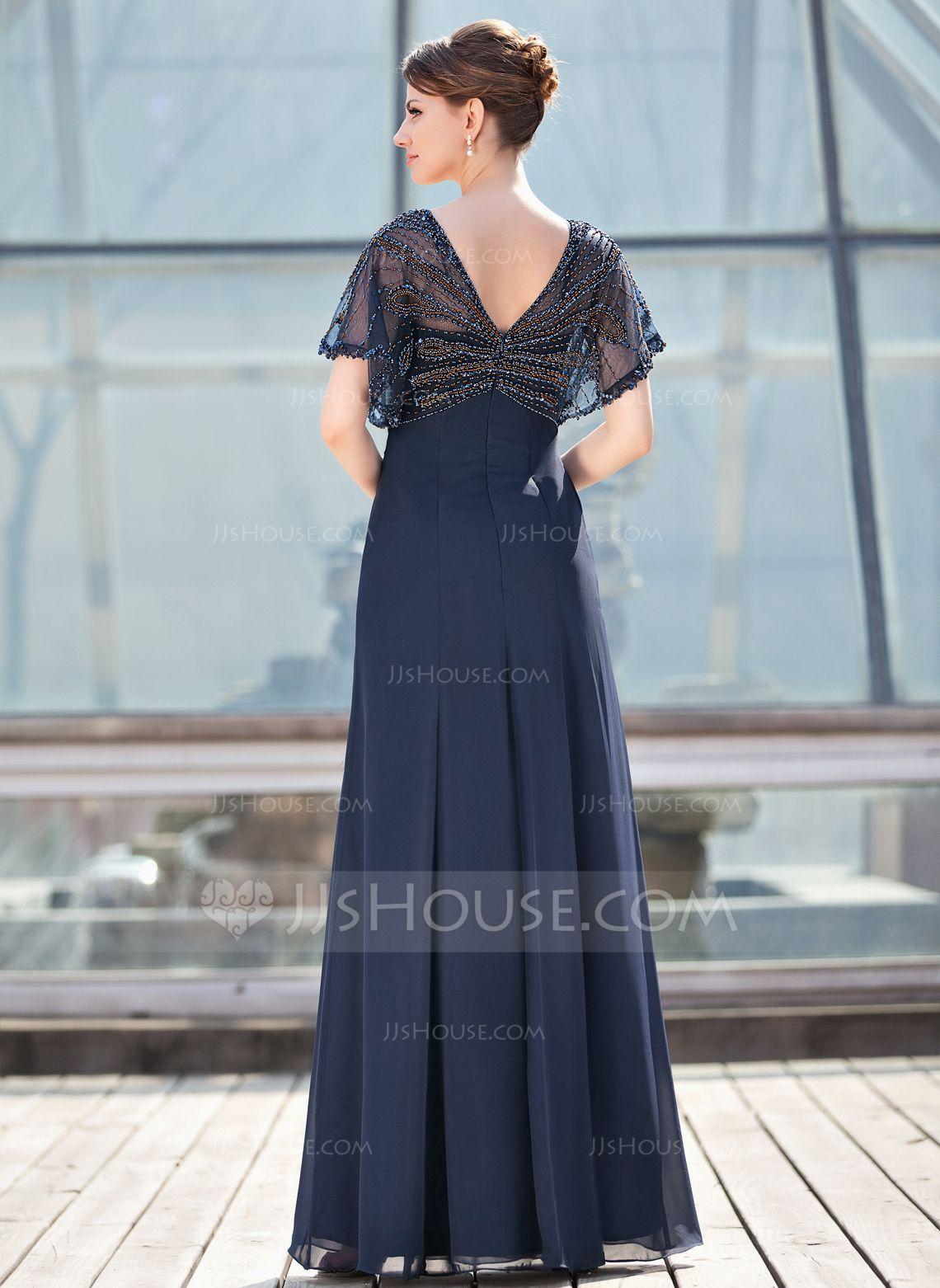 A-Line/Princess V-neck Floor-Length Chiffon Mother of the Bride ...