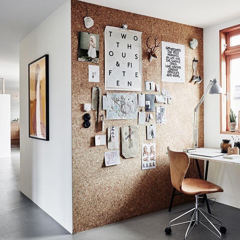 Un Mur En Liege Dans Le Bureau Parfait Pour Epingler Tous Les Memos Tres Pratique Chambre Design Decoration Interieur Facile Decor De Bureau A Domicile
