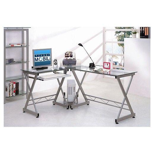 L Shaped Computer Desk Silver Clear Techni Mobili Computer Desk Glass Computer Desks L Shaped Corner Desk