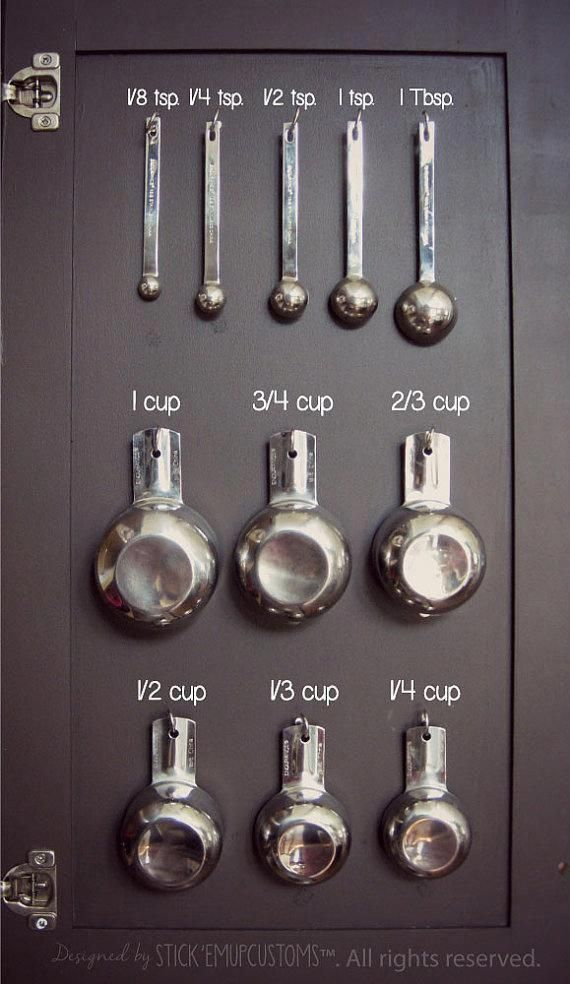 Measuring Cup Spoon Organization Decal Stickers Inside Kitchen Cabinet Cupboard Baking Cooking #cabinetorganization