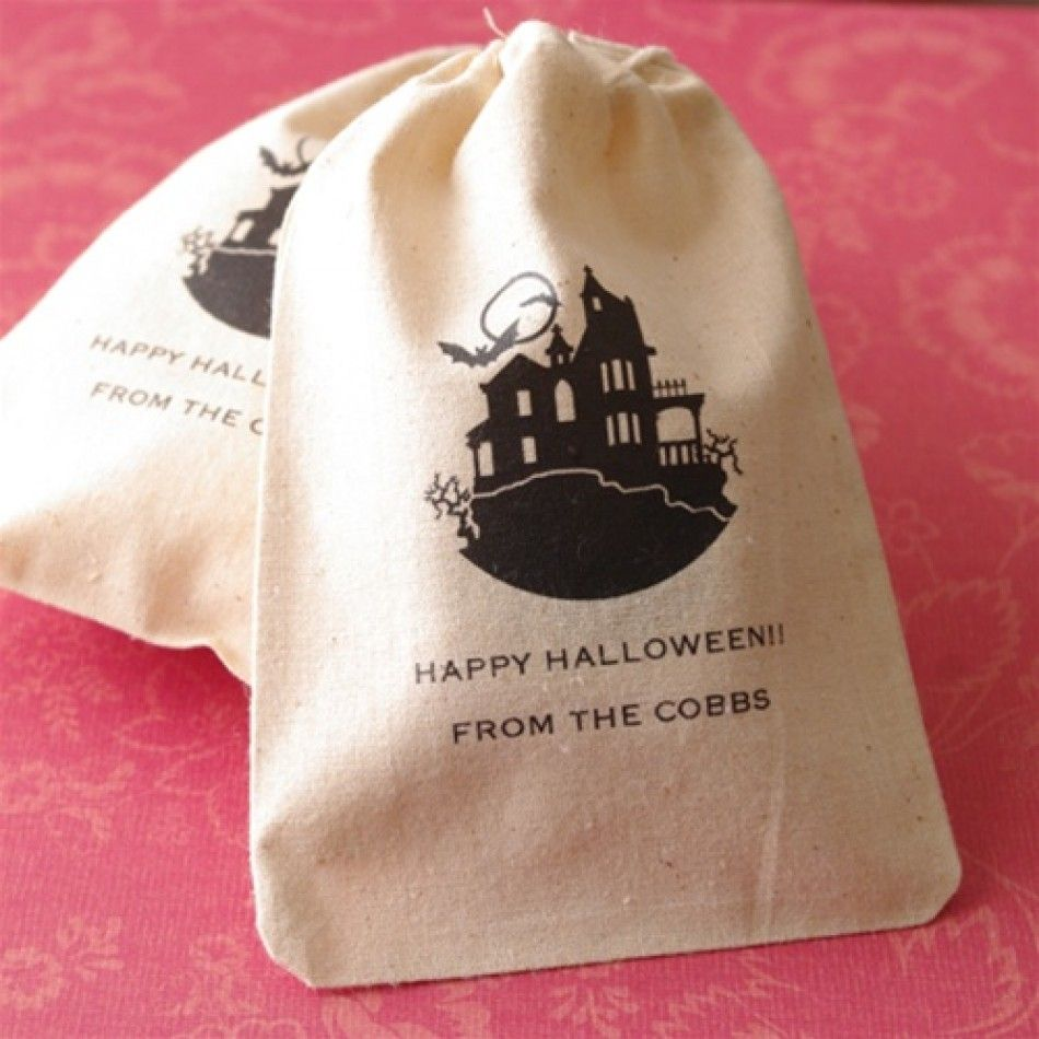 Personalized Halloween Favors - Halloween Party Theme Large Muslin ...