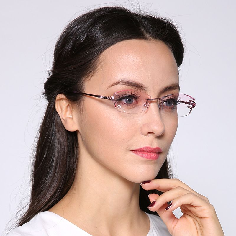 3c78671633 Click to Buy    Chashma Brand Eyeglasses Diamond Trimmed Rimless Glasses  Titanium Fashionable Lady Eyeglasses Spectacle Frames Women  Affiliate