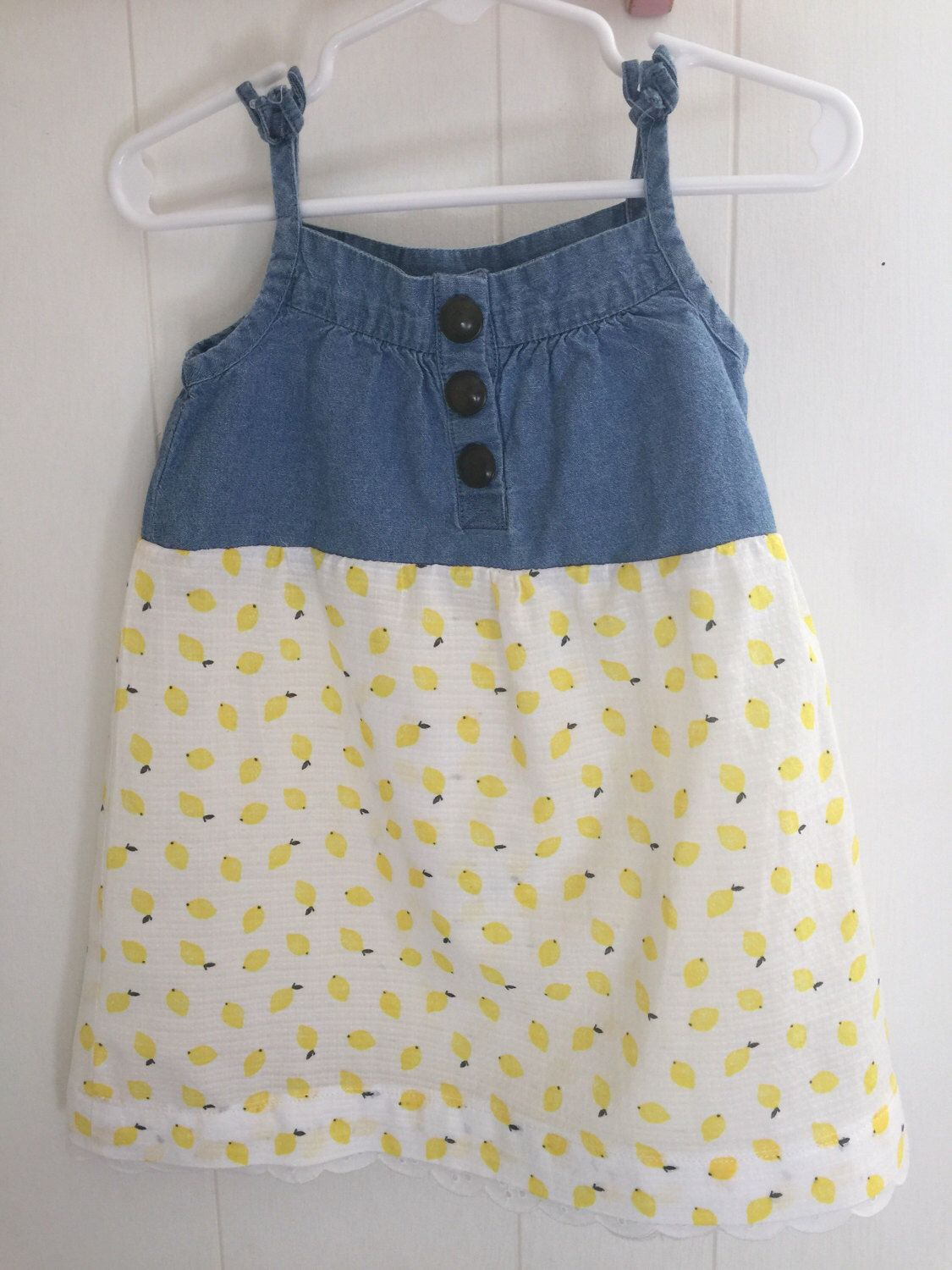 Girls Dress size 18-24 Months. Lemons and Jean Shabby Chic Sundress by AddisonsUpcycles on Etsy https://www.etsy.com/listing/496906548/girls-dress-size-18-24-months-lemons-and