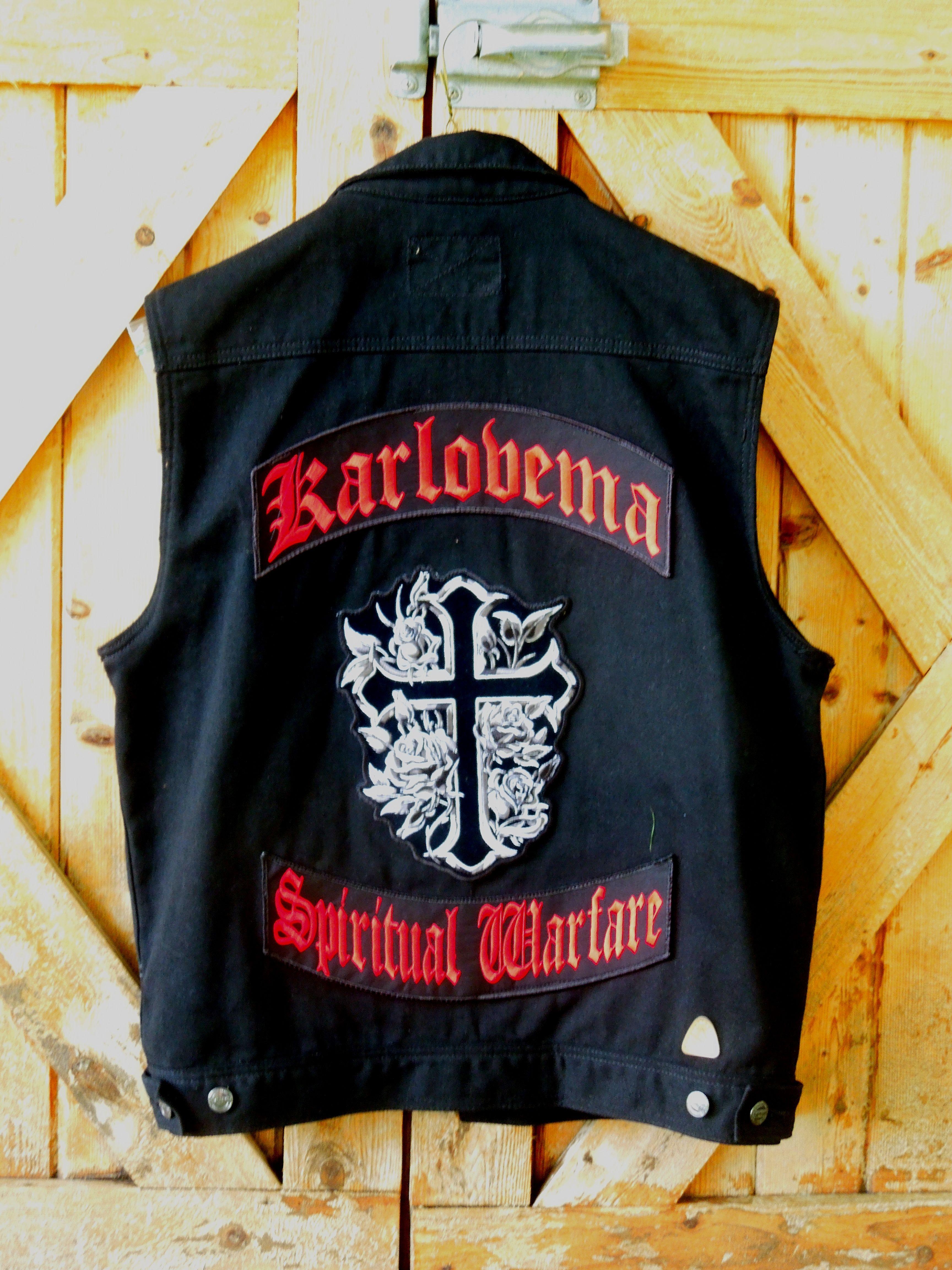 """Custom Karlovema """"SPIRITUAL WARFARE"""" Black Denim Vest"""