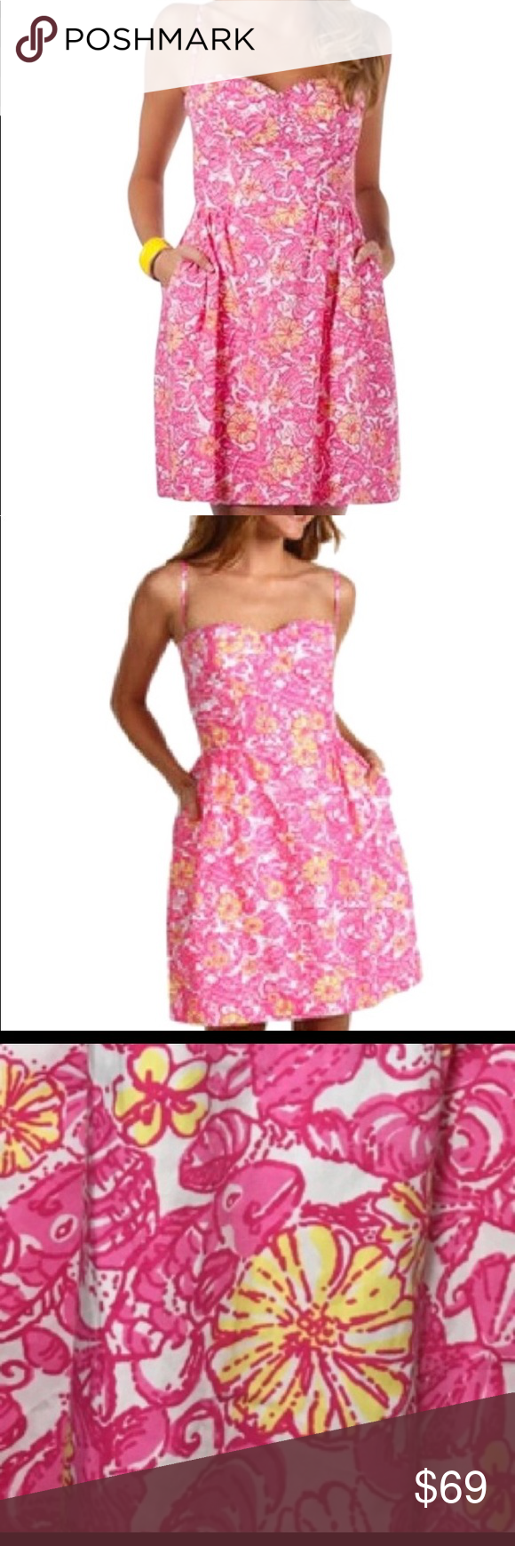 d11a7d7194e62a Lilly Pulitzer Chum Bucket Georgie Dress Sleeveless dress in printed cotton  poplin Bustier-style bodice