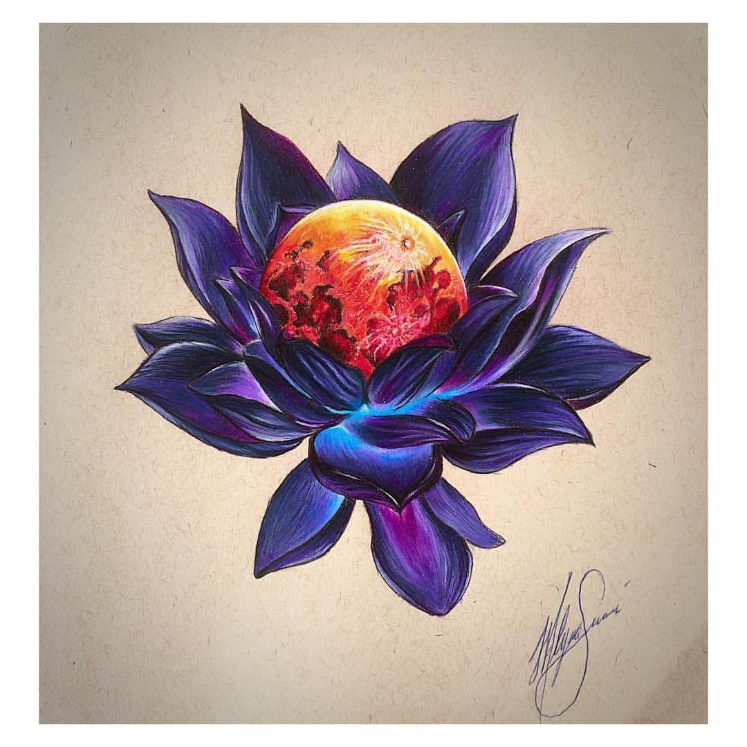 Lotus Flower And Moon Silmarillion My Designs Purple Flower