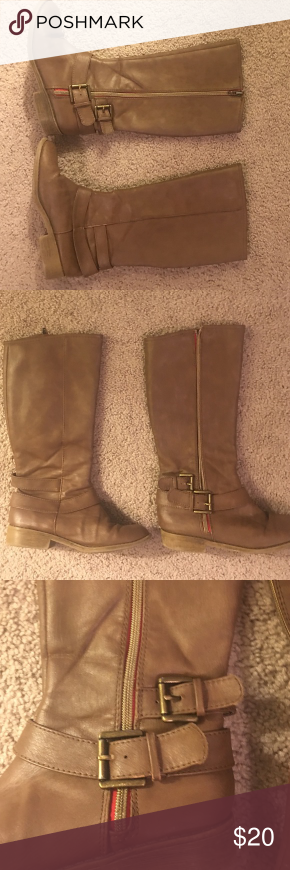 Girl's size 4 knee high Justice boot Brown knee high Justice boot. Soft fabric on inside so there's no plastic rubbing against your daughters leg. There's a little bit of buckle and red detail. Please see photo. Not in perfect  condition. But, nothing noticeable. Will look perfect with polish if you wanted them to look that way. I pictured the most visible scuffs in last photo. Justice Shoes Boots