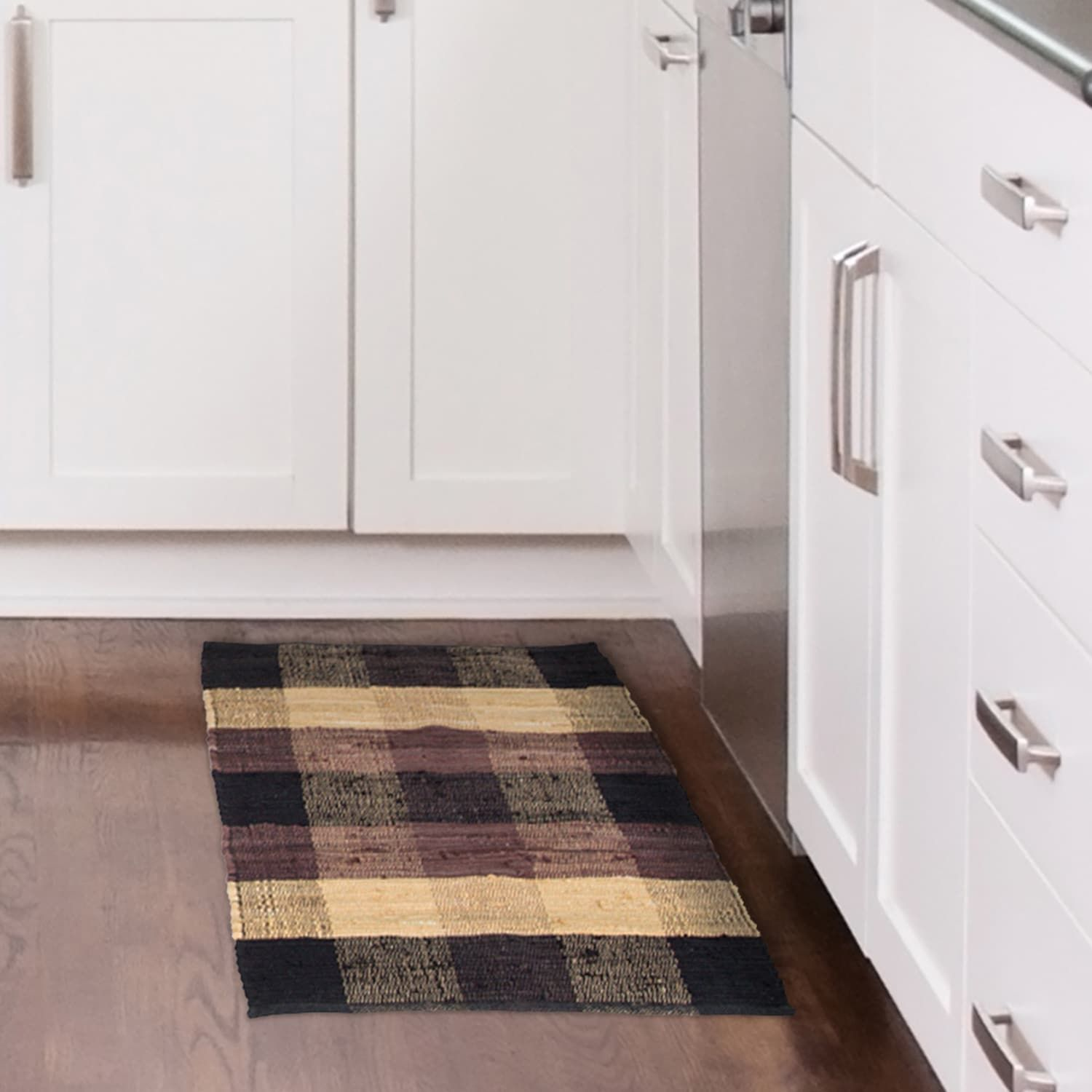 Chindi Plaid Black Tan Chocolate 21x34 Rug Accent Rugs Rugs