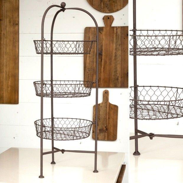3 Tier Chicken Wire Basket Stand