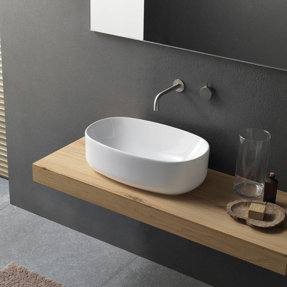 Lavabo design moderno in ceramica da appoggio novello - Ceramica bagno moderno ...