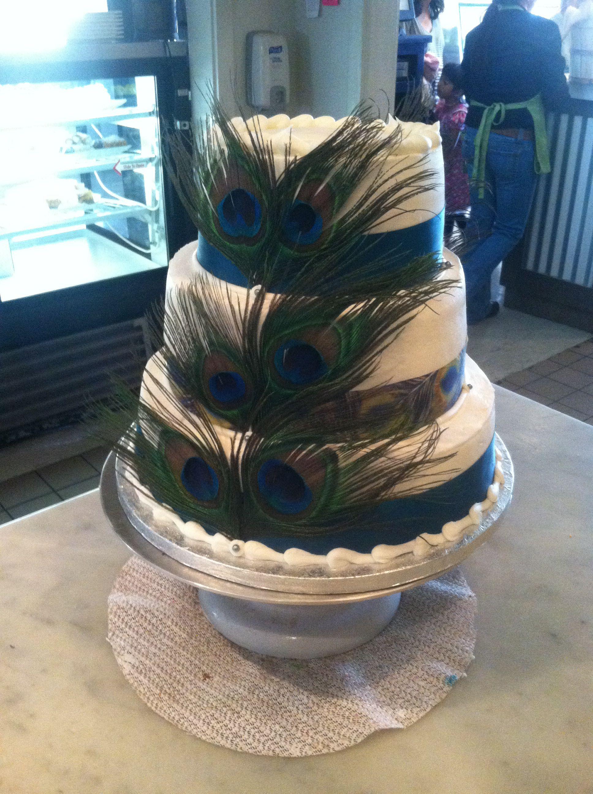 Peacock buttercream cake