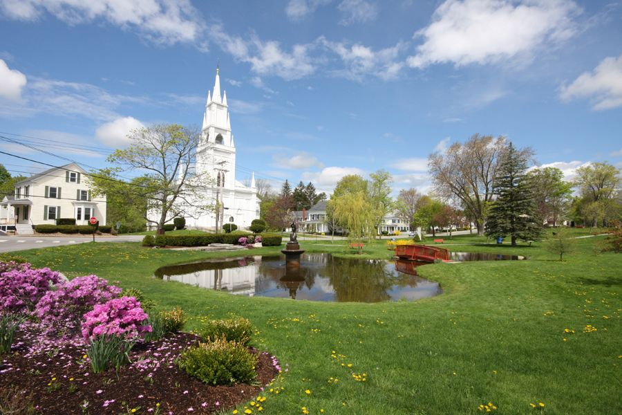 Beautiful Library Park in Bath Maine Historic Hometown