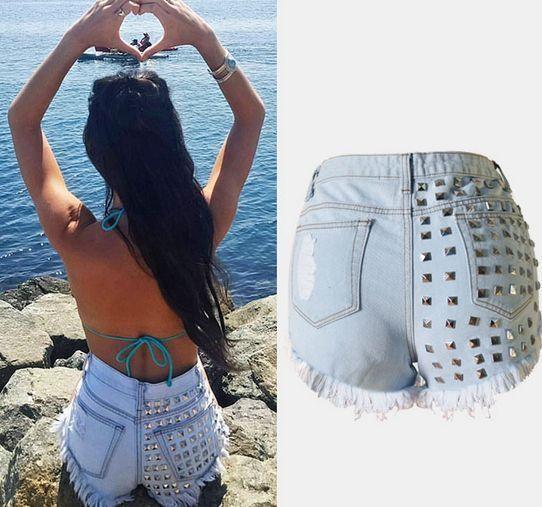 Fashion rivet high waist denim shorts Cute Kawaii Harajuku Fashion - clothing sponsorship