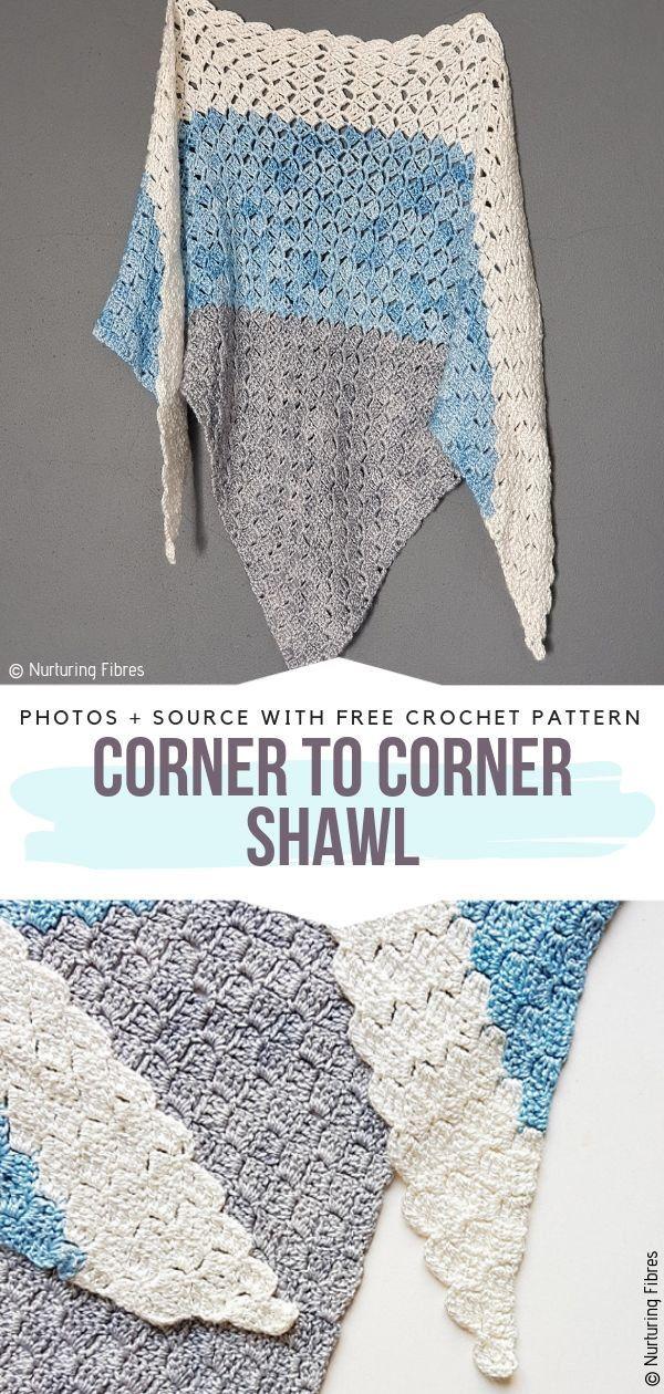 C2C Light Summer Shawls Free Crochet Patterns #crochetshawlfree