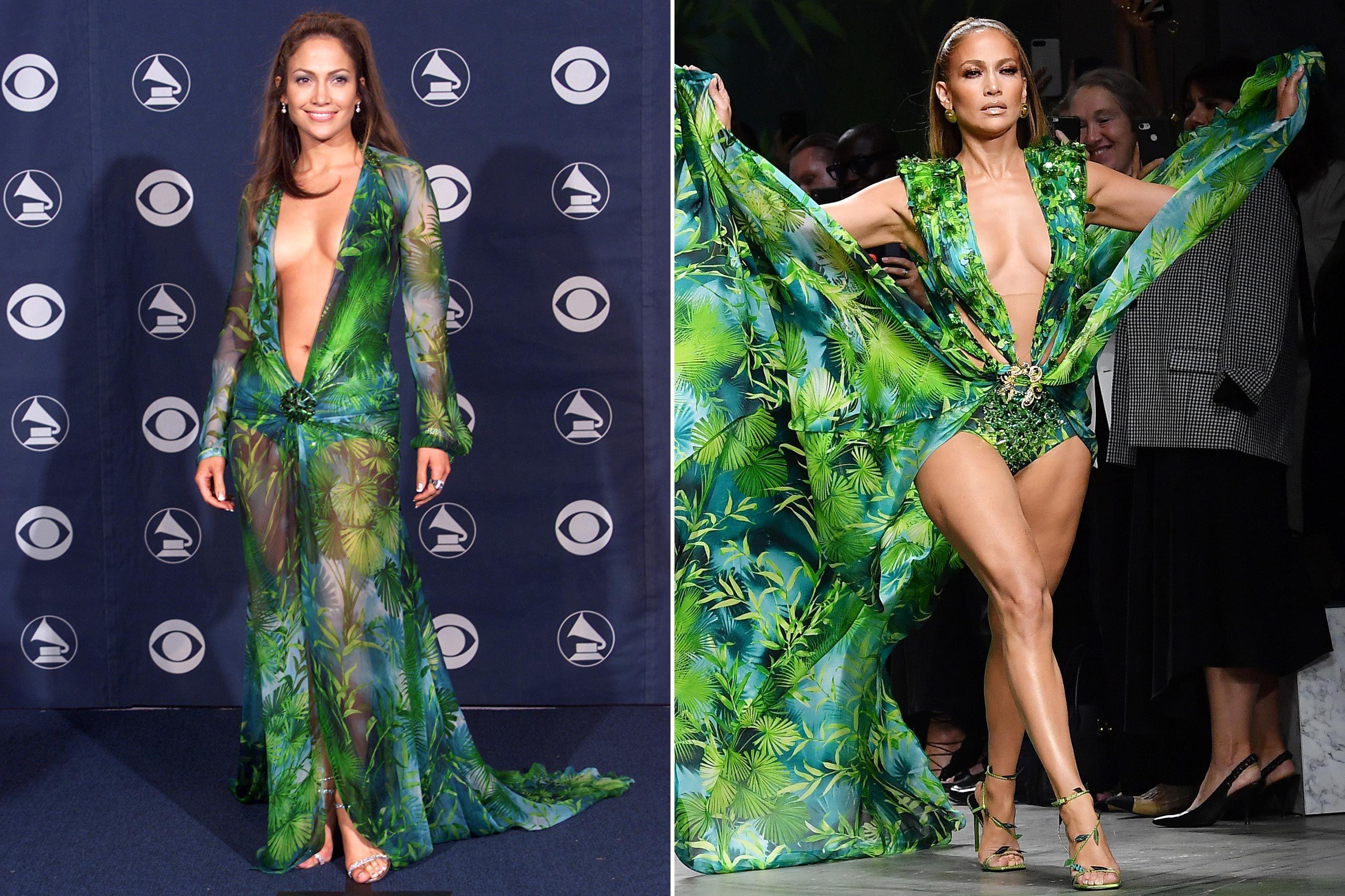 Jennifer Lopez Walks Versace Runway In Reimagined Version Of Iconic Grammys Dress Grammy Dresses Iconic Dresses Jennifer Lopez Versace Dress [ 1800 x 2700 Pixel ]