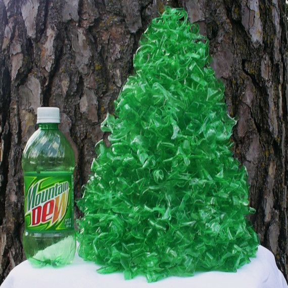 Tree hugging christmas tree table lamp made from for Christmas decorations from recycled plastic bottles