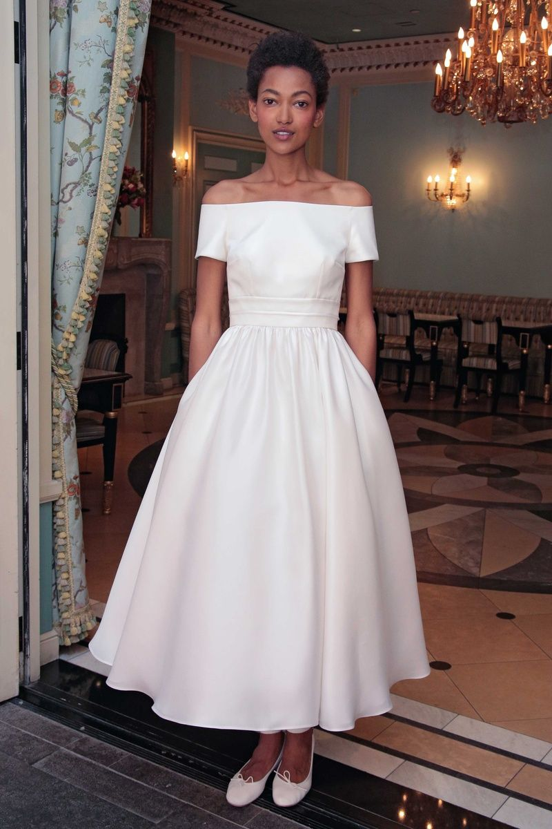 Off the shoulder tea length wedding dress  Pin by Claire Nolan on someday oneday  Pinterest  Wedding dresses