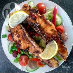 Spicy sweet ginger grilled salmon