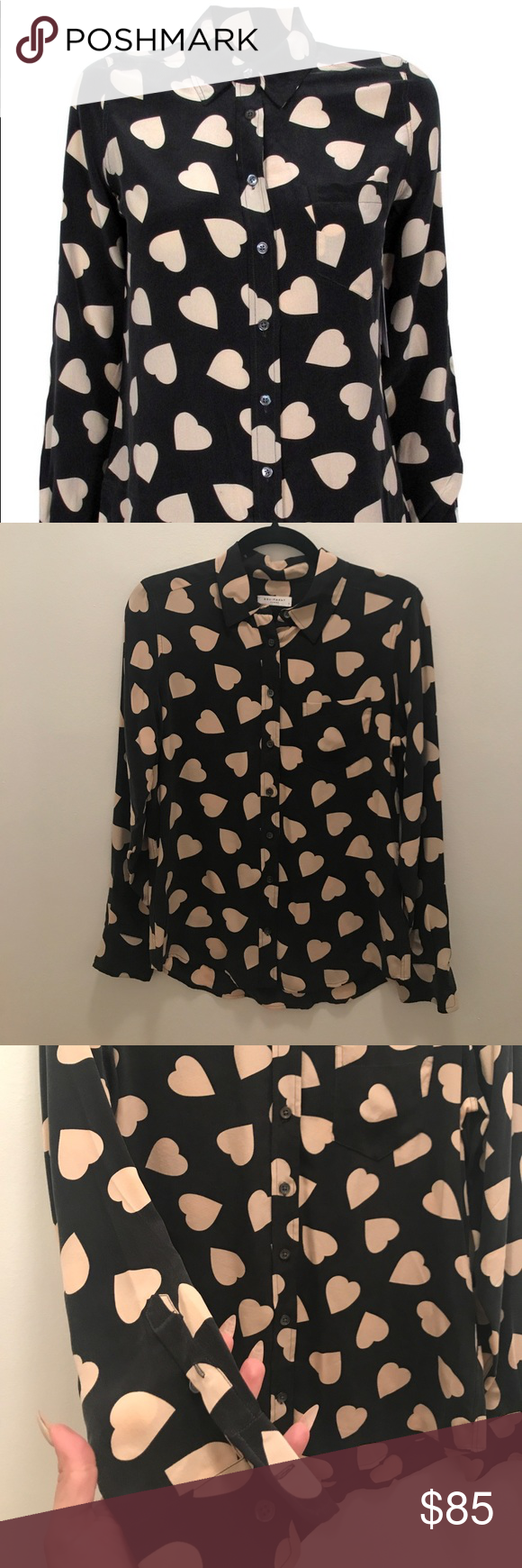 6290c3167e2dc EQUIPMENT Brett Black Nude Heart Print Shirt Sz S 100% silk button down  shirt by Equipment. This is the famous hearts shirt in the nude and black  color way.