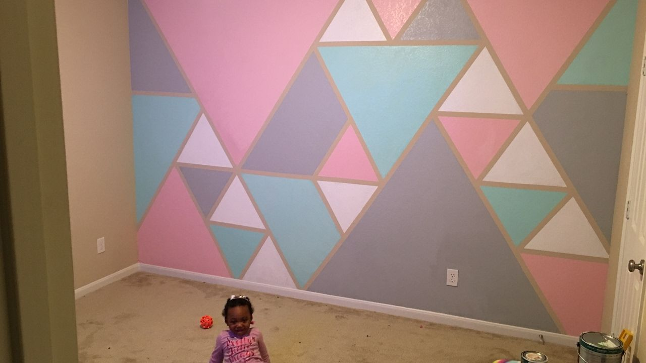 Diy How To Paint A Geometric Triangle Accent Wall Youtube
