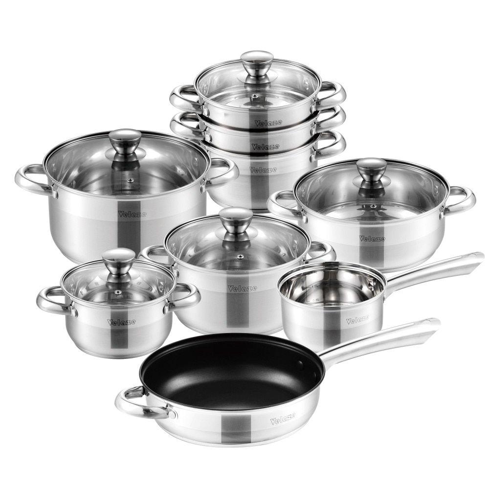 Velaze Cookware Set Stainless Steel 14 Piece Induction Kitchen Cooking Pot Pan Set Saucepan Casserole Cookware Set Stainless Steel Cookware Set Pot And Pan Set Non stick stainless steel cookware set