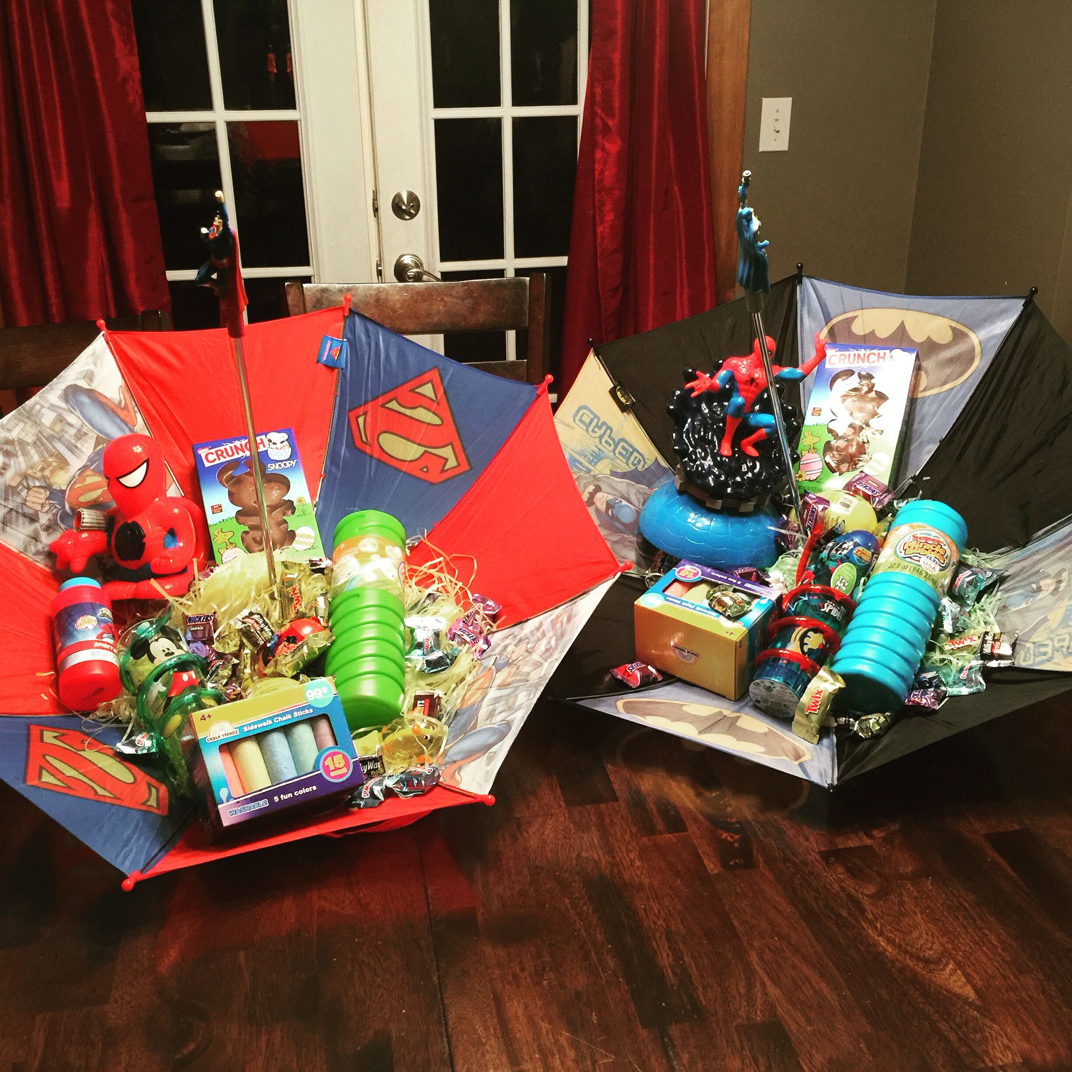 My boys easter baskets superman and batman umbrellas super cute my boys easter baskets superman and batman umbrellas super cute idea that negle Images