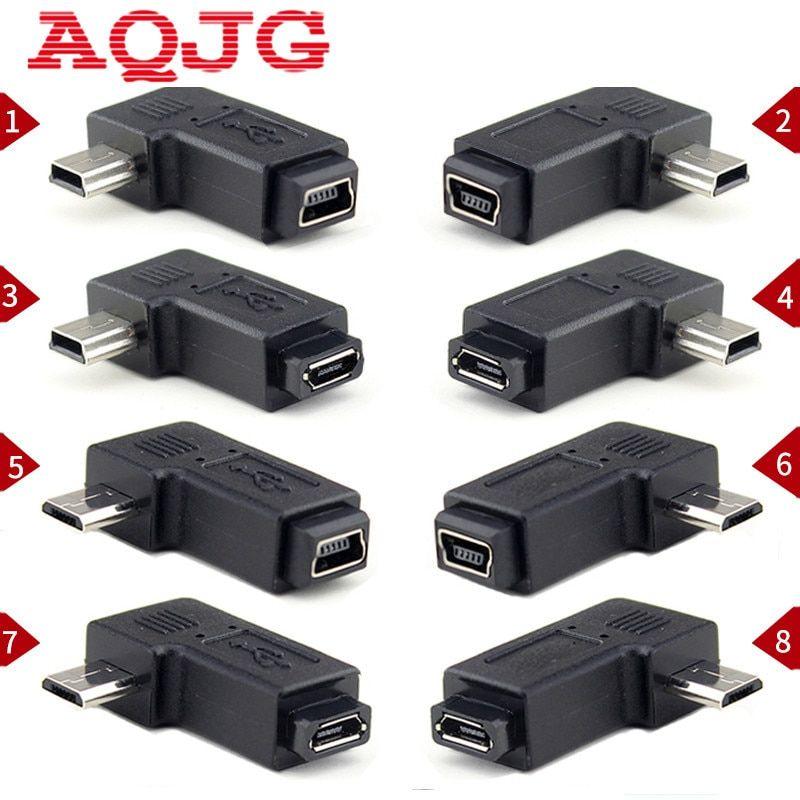 USB Mini 5Pin Male to Mini 5Pin Female 90 Degree Right Angle Adapter Converter