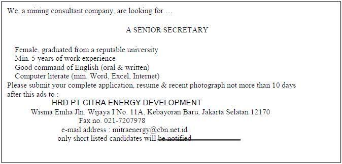 Lowongan Kerja Dalam Bahasa Inggris Untuk Posisi Sekretaris Bahasa Inggris Bahasa Surat