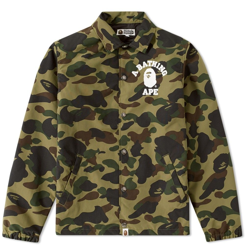 9c58970b00ae A Bathing Ape 1st Camo College Coach Jacket (Green)