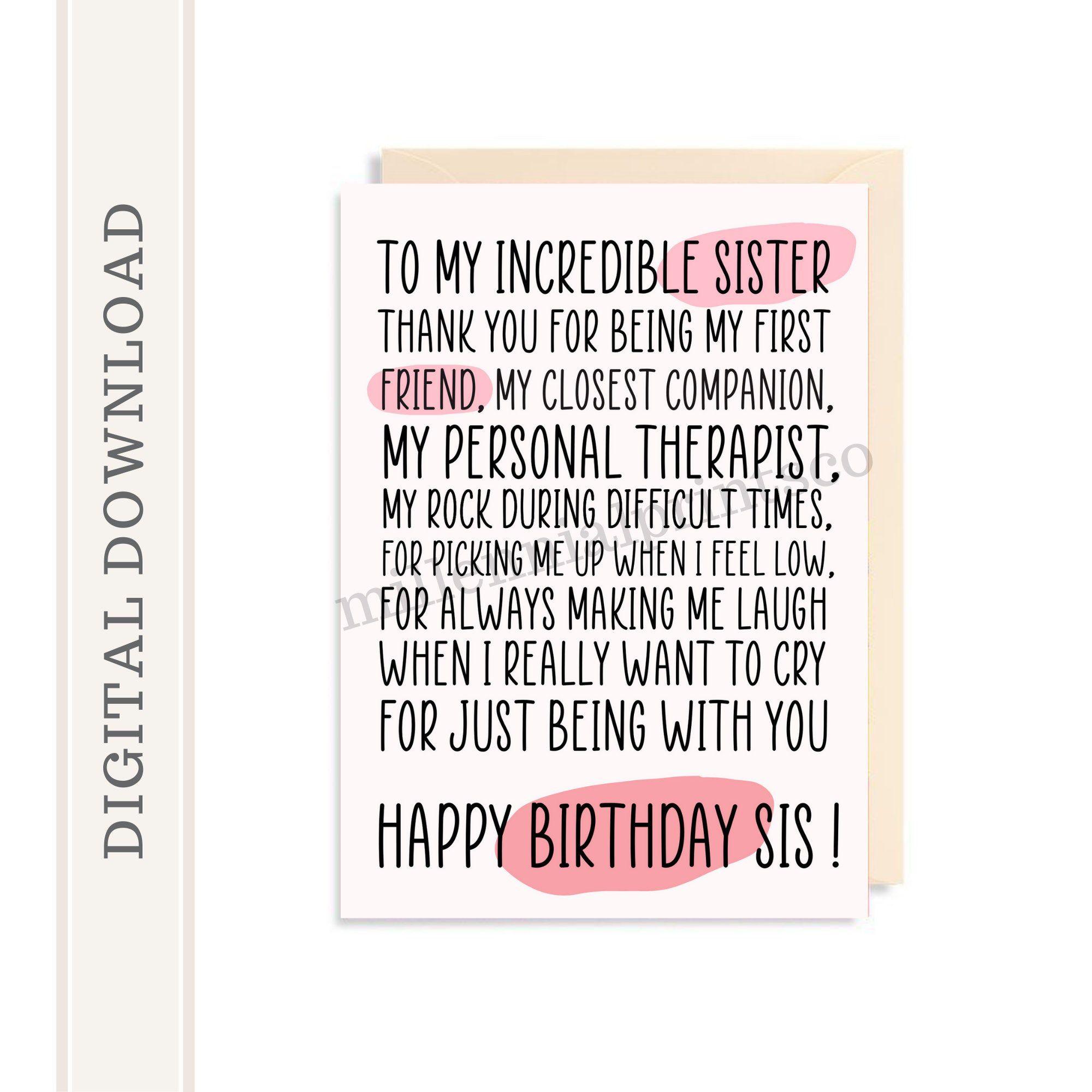 Printable Birthday Card For Sister Cute Sister Card Sister Etsy Sister Birthday Card Message For Sister Birthday Card Printable