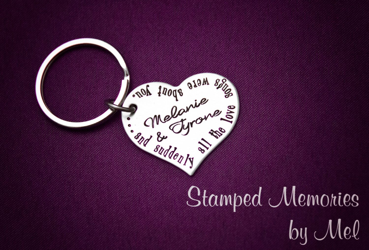 Love Songs About You - Hand Stamped Personalized Key Chain or Necklace - Couple's Names Keychain - Stainless Steel Heart  - Anniversary Gift by StampedMemoriesbyMel on Etsy https://www.etsy.com/listing/159030012/love-songs-about-you-hand-stamped