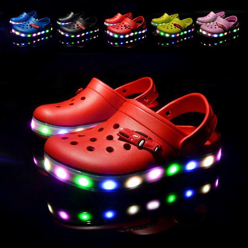 Boys and Girls Beach Crocs LED Light shoes  03c3e8ac925