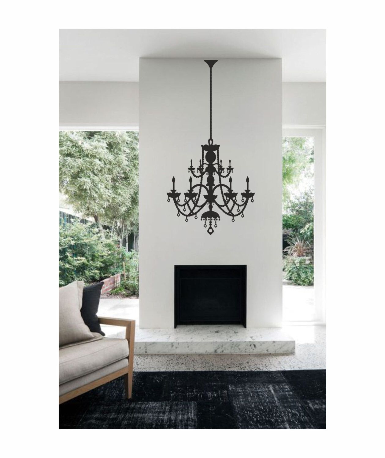 Victorian Chandelier Vinyl Wall Decal / Sticker / Mural Removable Wall Art  Ideal For Living Room