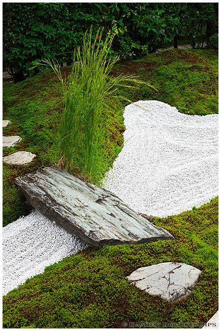 small raked gravel area with stone bridge daitoku ji japan - Japanese Garden Stone Bridge