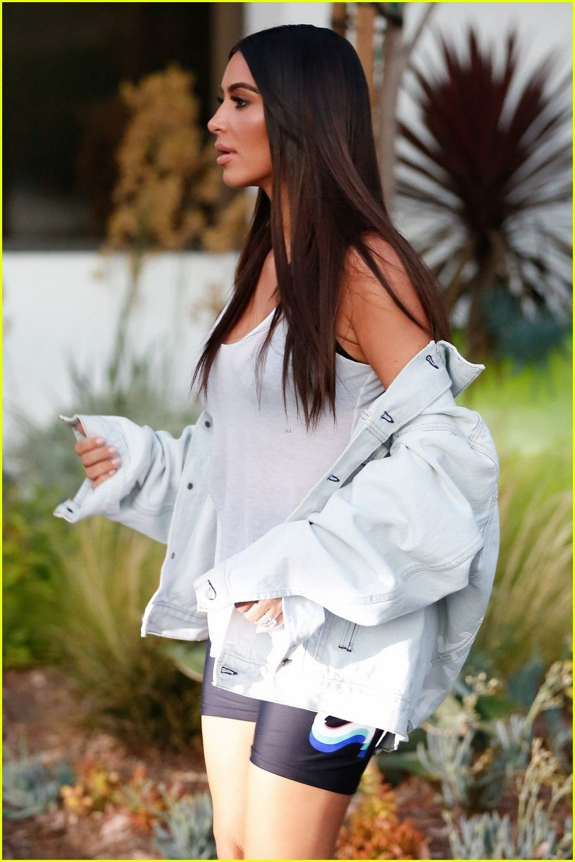Kim Kardashian Shows Off Slim Figure While at the Studio