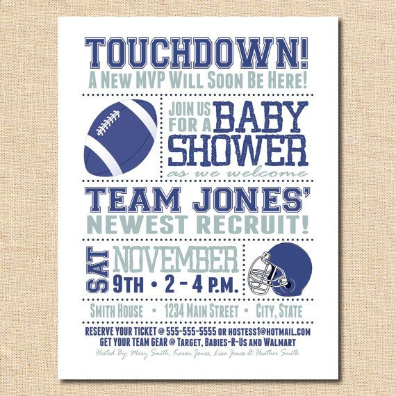 Baby Shower Invitation Card Football Card By JoebenDesigns, $15.00