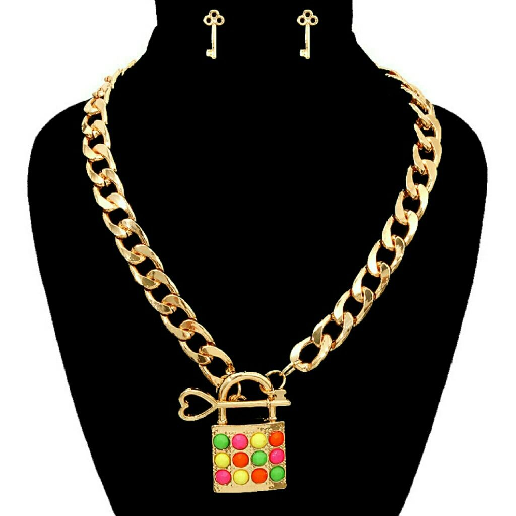 Hp lock pendant necklace set multicolor pendants and products
