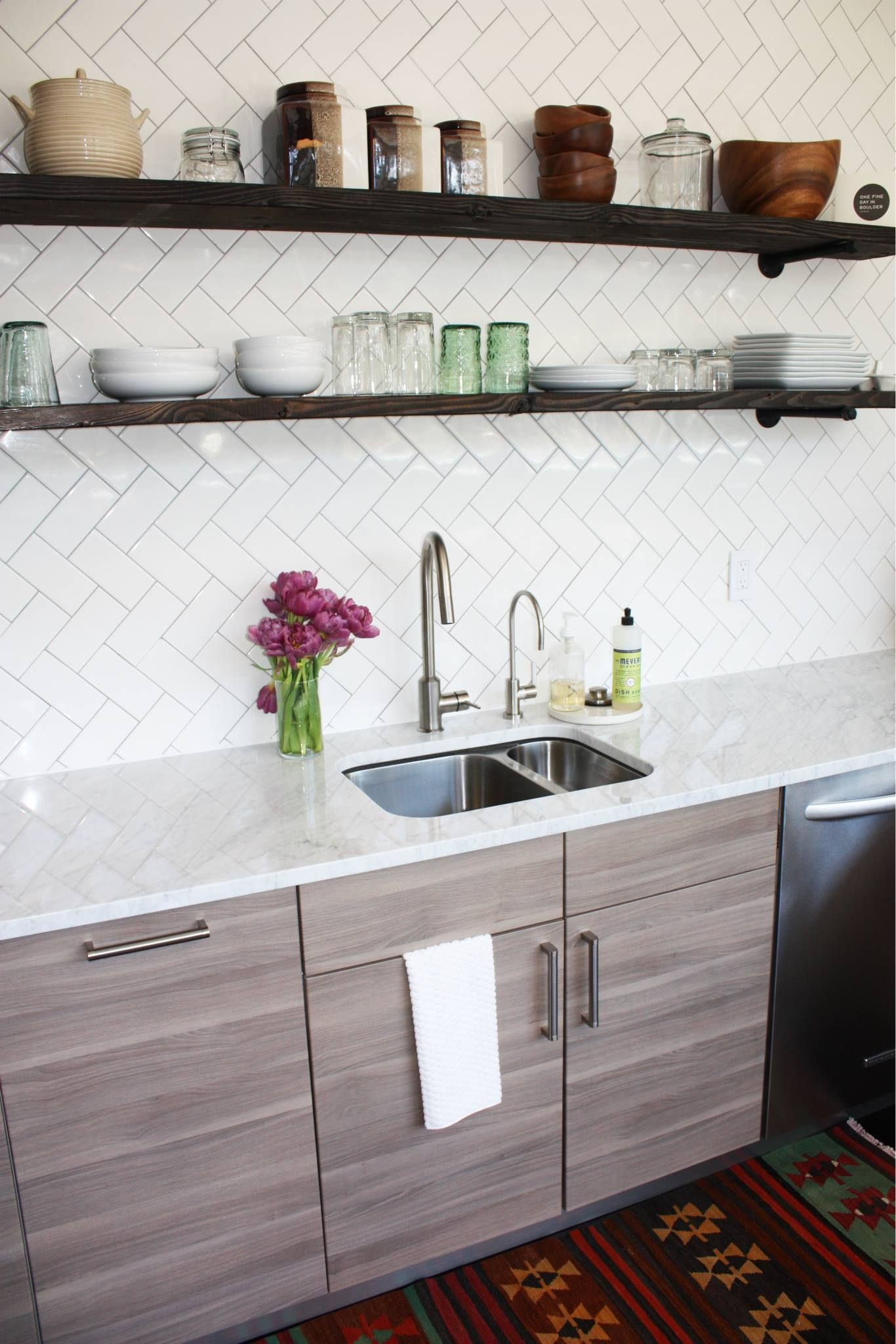 Inexpensive Backsplash Ideas Kitchen Renovations Part - 21: DIY Kitchen Renovation/Remodel, Before And After Boulder, Co Ikea Sofielund  Cabinets Open Shelving Herringbone Tile Backsplash