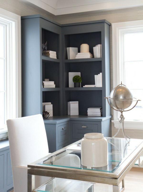 arbeitsplatz zuhause heimbüro gestalten eckregale Home Office - der arbeitsplatz zu hause