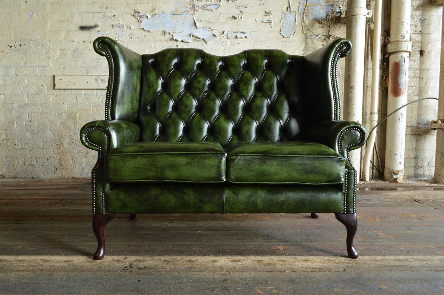 Handmade Antique Green Leather 2 Seater