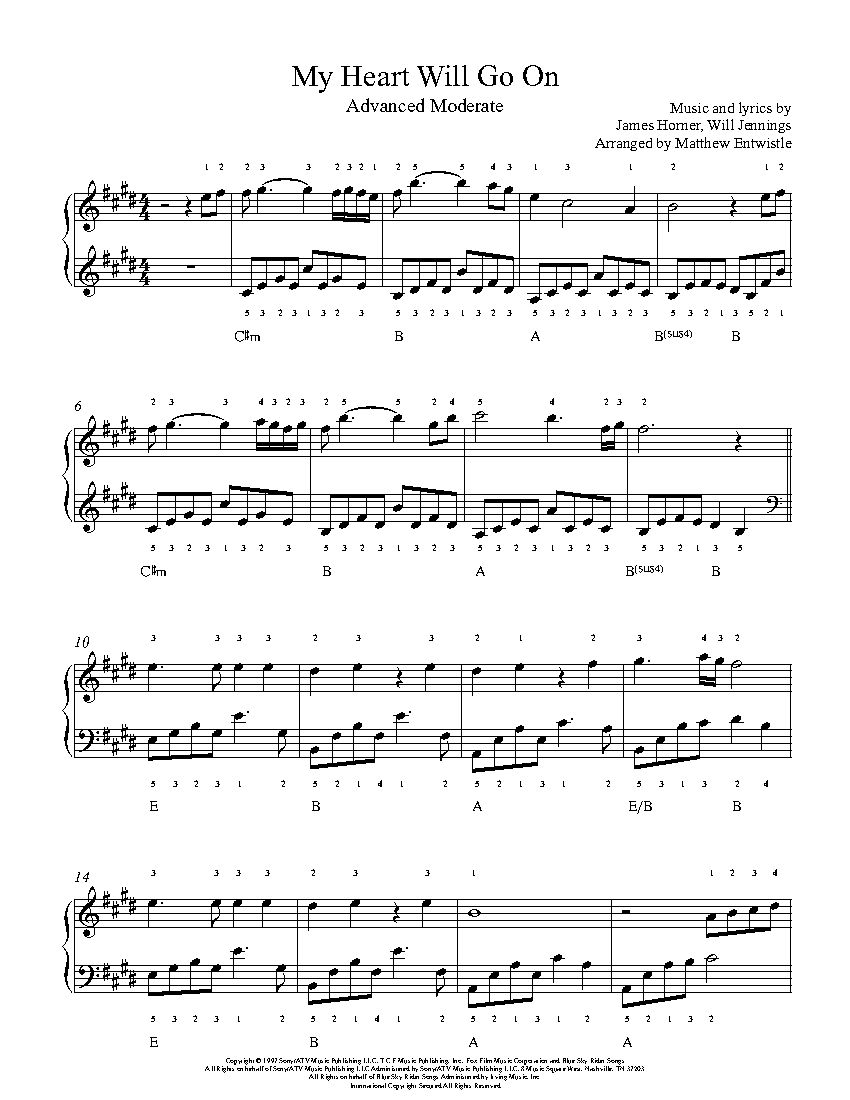 My Heart Will Go On By Celine Dion Piano Sheet Music Advanced