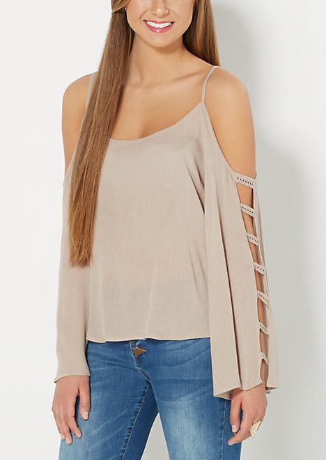 0e9056c2501be Taupe Crochet Caged Cold Shoulder Top